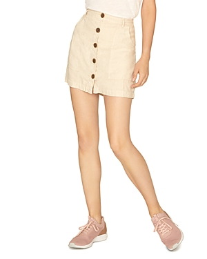 Sanctuary Skirts LINEN BUTTON-FRONT MINI SKIRT