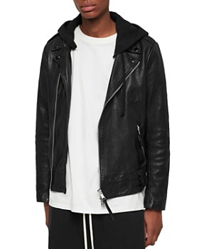ALLSAINTS - Woodley Crinkled Leather Biker Jacket