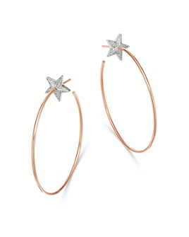 OWN YOUR STORY - 14K Rose Gold Cosmos Diamond Star Bright Hoop Earrings