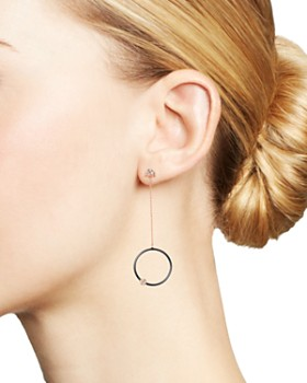 OWN YOUR STORY - 14K Rose Gold Geometry Diamond World on a String Drop Earrings