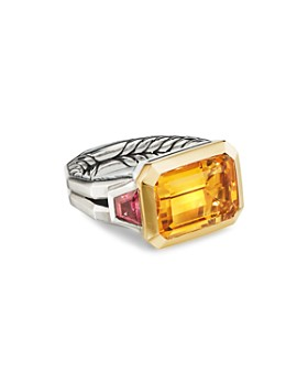 David Yurman - Sterling Silver Novella Three-Stone Ring with Gemstones & 18K Yellow Gold