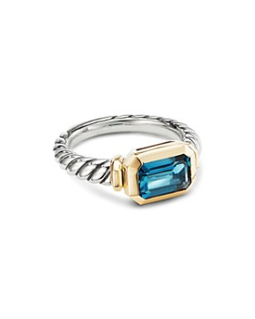 4d49d216e9ba David Yurman - Sterling Silver Novella Ring with Hampton Blue Topaz   18K  Yellow Gold ...