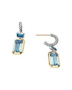 David Yurman - Sterling Silver Novella Drop Earrings with Blue Topaz & 18K Yellow Gold