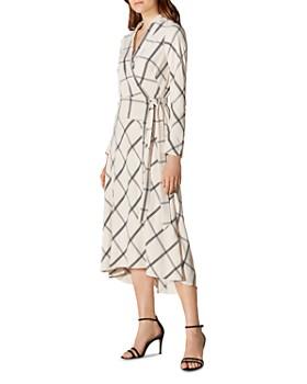 2259c2823a8 KAREN MILLEN - Check Midi Wrap Dress ...