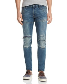 G-STAR RAW - 5620 3-D Zip-Knee Skinny Fit Jeans in Light Vintage Aged Ripped