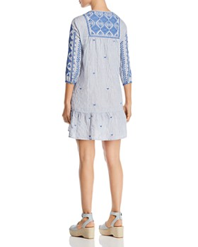 Johnny Was - Azure Striped Embroidered Dress