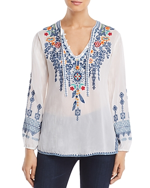 Johnny Was Tops CHELSEE EMBROIDERED BLOUSE