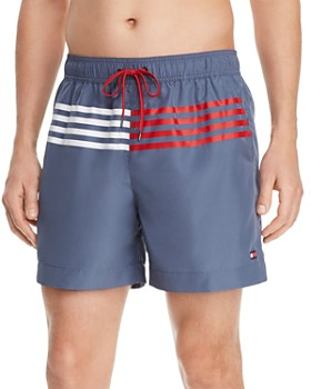 Tommy Hilfiger - Stripe-Accented Regular Fit Swim Shorts
