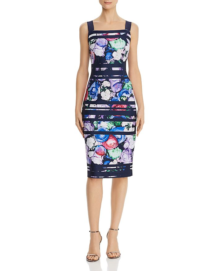 Adrianna Papell - Striped Floral Sheath Dress