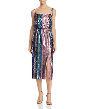Aidan by Aidan Mattox - Sequined Stripe Dress