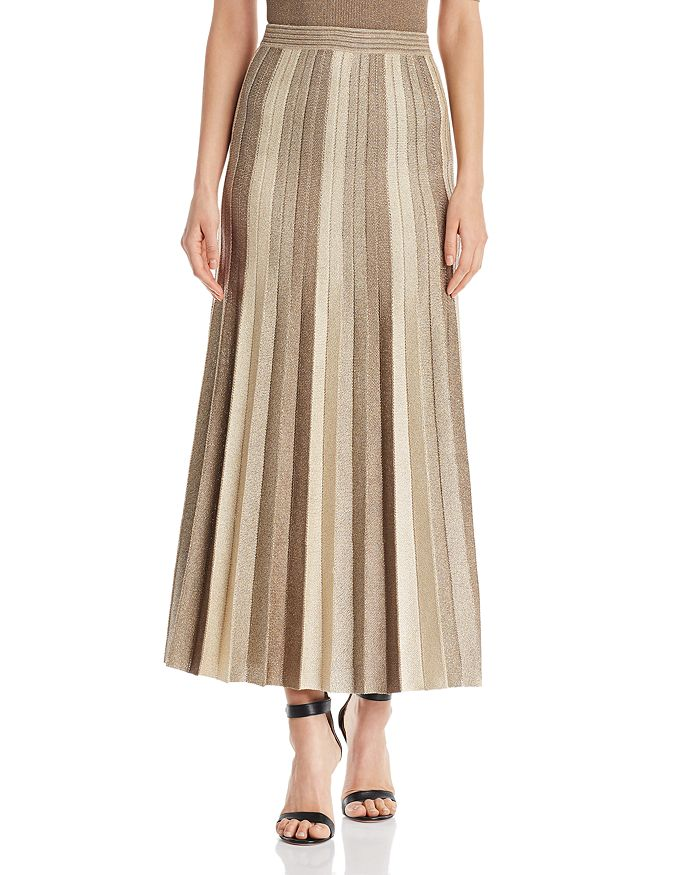 St. John - Pleated Metallic Jacquard Knit Maxi Skirt