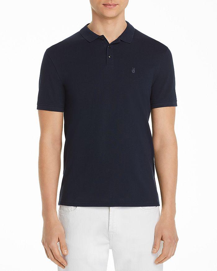 John Varvatos Peace Sign Pique Regular Fit Polo Shirt - 100% Exclusive In Deep Blue