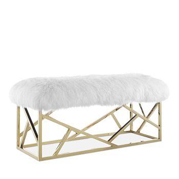 Modway - Intersperse Sheepskin Gold Bench