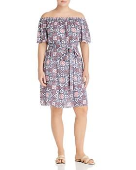 b5c4743f9f4a0 MICHAEL Michael Kors Plus - Mosaic Print Off-the-Shoulder Dress ...