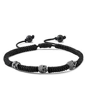 David Yurman - Sterling Silver Woven Skull Bead Bracelet in Black Nylon