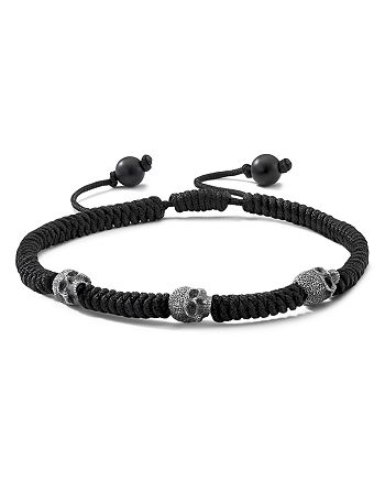 David Yurman - Sterling Silver Woven Skull Bead Bracelet in Black Nylon