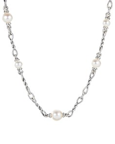 David Yurman - Sterling Silver Continuance Pearl Small Chain Necklace, 36""
