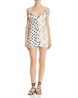 For Love & Lemons - Mochi Mixed-Print Mini Dress
