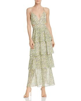 0e267f3a4d2e AQUA - Tiered Cutout Floral Maxi Dress - 100% Exclusive ...