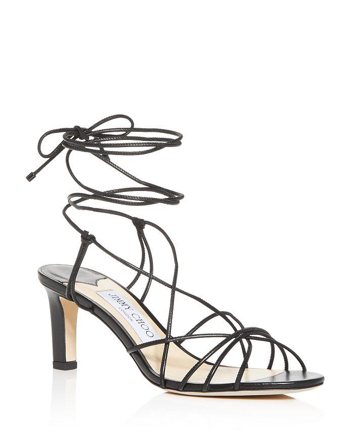 Jimmy Choo Women's Tao 65 Ankle-Tie Mid-Heel Sandals In Black