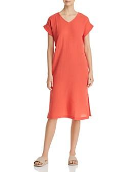 Eileen Fisher Petites - Plissé Organic Cotton Side-Slit Dress