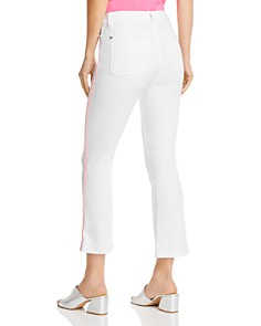 7 For All Mankind - Slim Kick Jeans in White with Neon Pink Piping