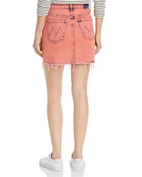 MOTHER - The Swooner Front-Yoke Frayed Denim Skirt