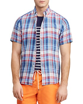 Polo Ralph Lauren - Short-Sleeve Plaid Linen Classic Fit Button-Down Shirt