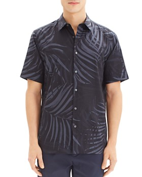 Theory - Irving Saygo Short-Sleeve Palm-Print Slim Fit Shirt