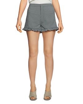 1.STATE - Checked Ruffle-Hem Shorts