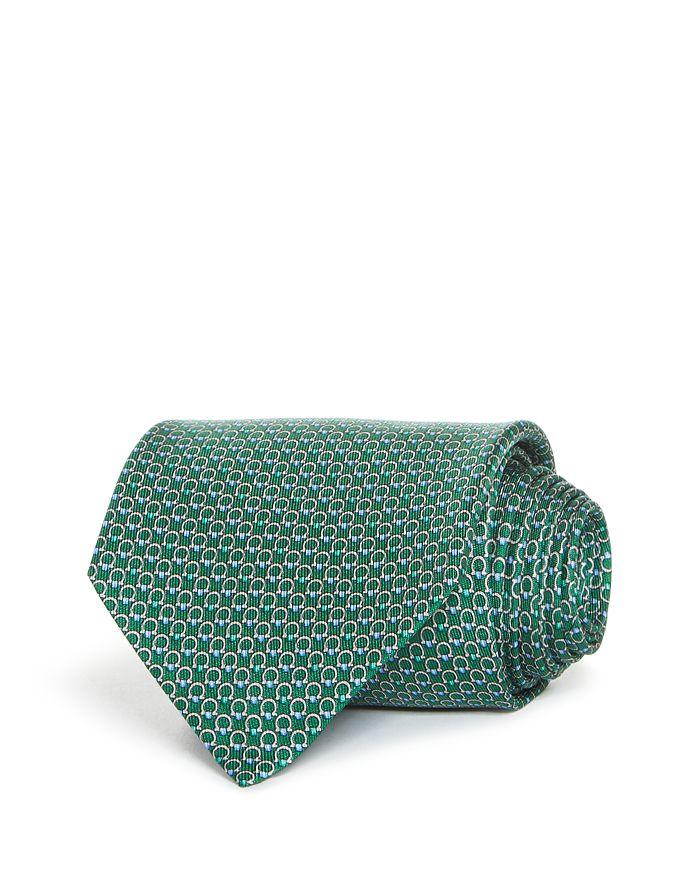 Salvatore Ferragamo Energia Gancini Silk Classic Tie In Green