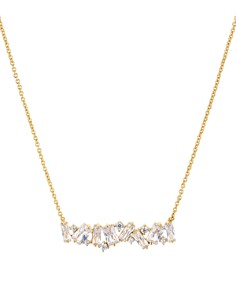 "AQUA - Cluster Bar Pendant Necklace in 18K Gold-Plated Sterling Silver, 15"" - 100% Exclusive"
