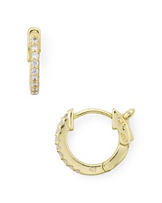 AQUA - Pavé Huggie Hoop Earrings in 18K Gold-Plated Sterling Silver - 100% Exclusive