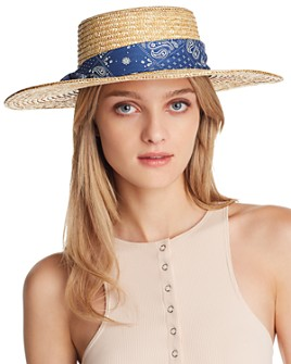August Hat Company - Paisley-Trim Straw Boater Hat - 100% Exclusive