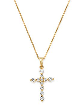 Bloomingdale's - Diamond Cross Pendant Necklace in 14K Yellow Gold, 0.50 ct. t.w. - 100% Exclusive