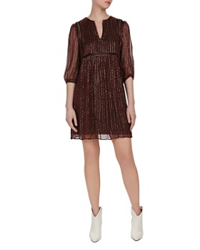 afefa4185be Ba sh - Willow Metallic Herringbone Print Shift Dress ...