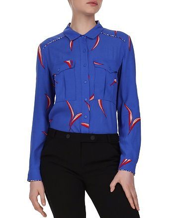 ba&sh - Terry Piped Leaf Print Blouse
