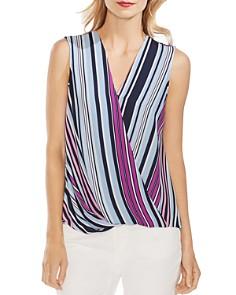 VINCE CAMUTO - Striped Faux-Wrap Top