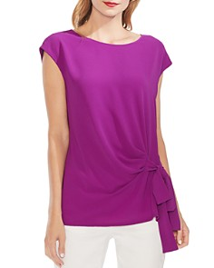 VINCE CAMUTO - Mixed-Media Tie-Front Top