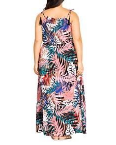 City Chic Plus - Copacabana-Print Tassel-Shoulder Maxi Dress