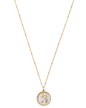 Zoe Lev - 14K Yellow Diamond Protection Locket Pendant Necklace, 22""