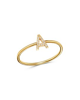 Zoe Lev - 14K Yellow Gold Initial Diamond Ring