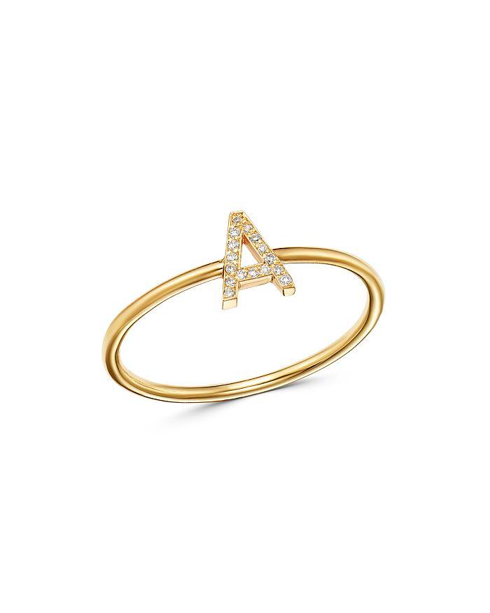 e30c279fcc05a 14K Yellow Gold Initial Diamond Ring