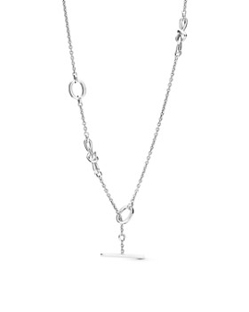 Pandora - Sterling Silver Knotted Heart Station Toggle Necklace