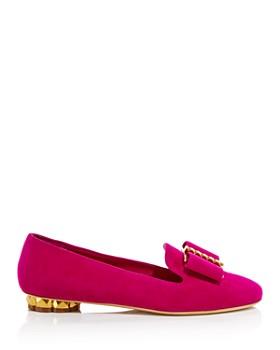 Salvatore Ferragamo - Women's Sarno Woven Leather Flower Heel Loafers