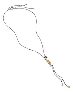David Yurman - Sterling Silver Lariat Necklace with Citrine, 18K Yellow Gold & Diamonds, 34""