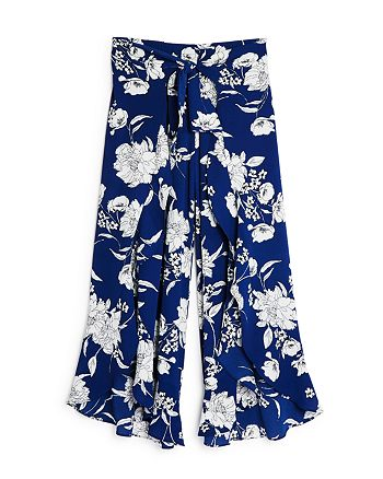 AQUA - Girls' Floral Print Flowy Pants, Big Kid - 100% Exclusive