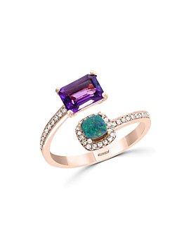 Bloomingdale's - Amethyst, Blue Opal & Diamond Ring in 14K Rose Gold - 100% Exclusive