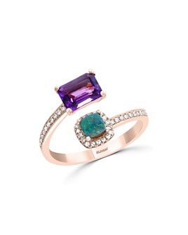 Bloomingdale's - Amethyst, Blue Opal & Diamond Ring in 14K Rose Gold - 100% Exclusive