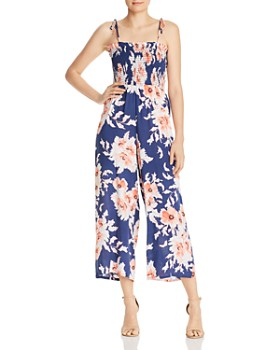 AQUA - Smocked Floral Wide-Leg Jumpsuit - 100% Exclusive